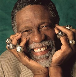 Bill Russell with championship rings